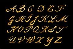 Alfabeto del vector Letras dibujadas mano del oro Imágenes de archivo libres de regalías