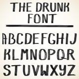 Alfabeto del vector Letras dibujadas mano mayúscula del grunge del alfabeto escrito con un cepillo negro del color Foto de archivo libre de regalías
