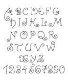 Alfabeto del vector Letras y números divertidos dibujados mano Fotos de archivo