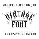 Alfabeto del vintage Letras y números apenados retros ilustración del vector