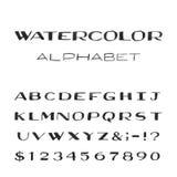 Alfabeto dell'acquerello Fonte di vettore dipinta Fotografia Stock
