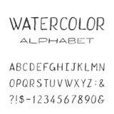 Alfabeto dell'acquerello Fonte di vettore dipinta Immagine Stock Libera da Diritti