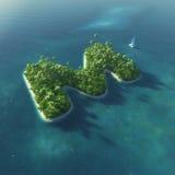 Alfabeto dell'isola Isola tropicale di paradiso sotto forma di lettera m. Immagini Stock
