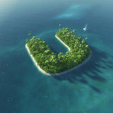 Alfabeto dell'isola Isola tropicale di paradiso sotto forma di lettera U Immagini Stock Libere da Diritti