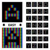 Alfabeto della fonte del pixel di RGB Fotografia Stock