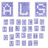 Alfabeto della fonte del taccuino Penna blu EPS8 Fotografia Stock