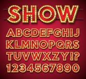 Alfabeto della lampadina con la struttura e l'ombra dell'oro su backgrond rosso Raccolta retro d'ardore della fonte di vettore co illustrazione di stock