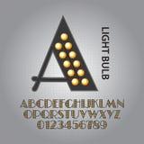 Alfabeto della lampadina della luce ultravioletta e vettore di numeri illustrazione di stock