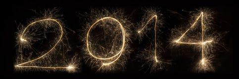 Alfabeto 2014 della luce del fuoco d'artificio della stella filante Fotografia Stock