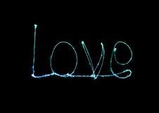 Alfabeto della luce del fuoco d'artificio della stella filante di amore Fotografia Stock