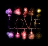 Alfabeto della luce del fuoco d'artificio della stella filante di amore Fotografie Stock Libere da Diritti