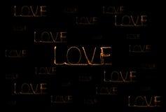 Alfabeto della luce del fuoco d'artificio della stella filante di amore Immagini Stock Libere da Diritti