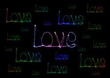 Alfabeto della luce del fuoco d'artificio della stella filante di amore Fotografia Stock Libera da Diritti