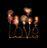 Alfabeto della luce del fuoco d'artificio della stella filante di amore con i fuochi d'artificio Fotografie Stock