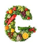 Alfabeto della verdura e della frutta Fotografie Stock Libere da Diritti