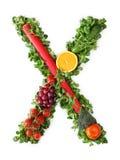 Alfabeto della verdura e della frutta Immagini Stock Libere da Diritti