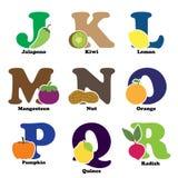 Alfabeto della verdura e della frutta Immagini Stock