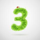 Alfabeto delle foglie verdi con la coccinella Estate di ecologia Numeri le presidenze di spiaggia 3 Immagine Stock Libera da Diritti