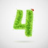 Alfabeto delle foglie verdi con la coccinella Estate di ecologia Numero 4 Fotografie Stock Libere da Diritti
