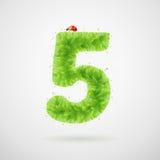 Alfabeto delle foglie verdi con la coccinella Estate di ecologia Numero 5 Immagini Stock Libere da Diritti