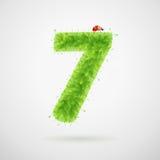 Alfabeto delle foglie verdi con la coccinella Estate di ecologia Numero 7 Fotografia Stock