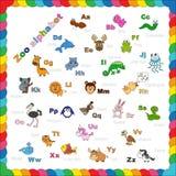 Alfabeto dello zoo del profilo da colorare Immagini Stock