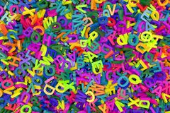 Alfabeto descendente de las letras Fotografía de archivo libre de regalías