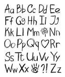 Alfabeto desenhado mão Imagem de Stock