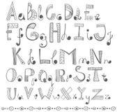Alfabeto desenhado mão Fotos de Stock Royalty Free