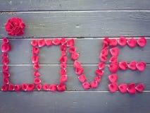 Alfabeto di AMORE con la rosa rossa Immagine Stock Libera da Diritti