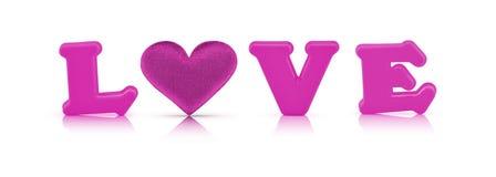Alfabeto di amore e cuore rosa del tessuto con il percorso di ritaglio Immagini Stock Libere da Diritti
