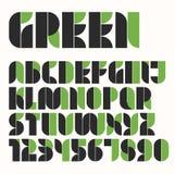 Alfabeto di eco modulare e numero verdi e neri Immagini Stock
