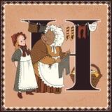 Alfabeto di favola del fumetto del libro di bambini Lettera H Istrice e Lucie Il racconto di sig Tiggy-chiocciola di mare da Beat Fotografia Stock Libera da Diritti