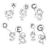 Alfabeto di felicità del fumetto del disegno della mano Immagine Stock Libera da Diritti