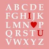 Alfabeto di giorno del ` s del biglietto di S. Valentino, amore ABC Fotografia Stock