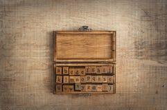 Alfabeto di legno dei bolli Fotografia Stock Libera da Diritti