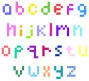 Alfabeto di lettera minuscola del pixel Fotografie Stock