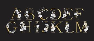 Alfabeto di nozze Iniziali con gli elementi botanici Disposizione del monogramma royalty illustrazione gratis
