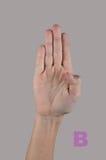 Alfabeto di ortografia del dito Lettera B su fondo grigio Immagine Stock Libera da Diritti