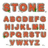 Alfabeto di pietra rosso nel vettore Immagine Stock