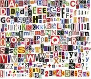 Alfabeto di residui della potatura meccanica di giornale Fotografia Stock