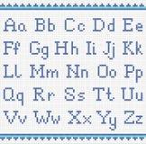 Alfabeto di ricamo maiuscola e lettera minuscola Fotografia Stock Libera da Diritti