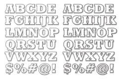 Alfabeto di scarabocchio 3-D Immagini Stock