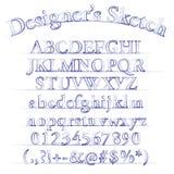 Alfabeto di schizzo del progettista di vettore Fotografia Stock