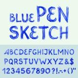 Alfabeto di schizzo della penna Fotografia Stock