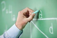 Alfabeto di scrittura della mano degli insegnanti maturi sopra Fotografia Stock Libera da Diritti