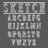 Alfabeto di stile di schizzo di lerciume Fotografia Stock
