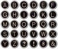 Alfabeto di tasto della macchina da scrivere dell'annata Fotografia Stock