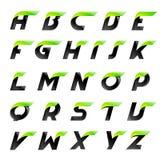 Alfabeto di velocità nero e lettere verdi creative Fotografie Stock Libere da Diritti