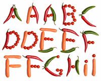 Alfabeto di verdure Fotografia Stock